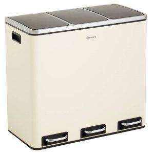 Homra SPARQ afvalscheiding prullenbak 3x18L - pedaalemmer 54L - Wit