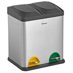 Homra STEPHS 2x15L afvalscheiding prullenbak - pedaalemmer 30L - RVS