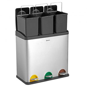 Homra STEPHS 3x20L afvalscheiding prullenbak - pedaalemmer 60L - RVS