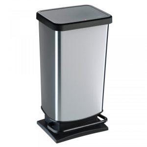 Rotho Paso pedaalemmer 40 l - zilverkleurig
