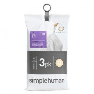 Simplehuman Pocket Liners vuilniszakken Code Q - 50 liter - 3 x 20 stuks