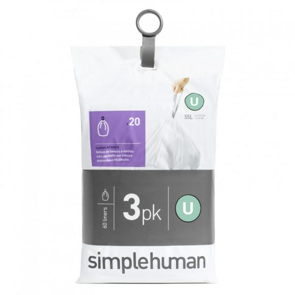 Simplehuman Pocket Liners vuilniszakken Code U - 55 liter - 3 x 20 stuks