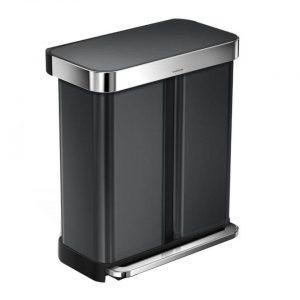 Simplehuman - SH Rectangular Zwart met Liner Pocket GFT 58L
