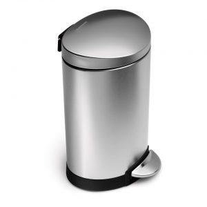 Simplehuman Semi Round Deluxe FFP pedaalemmer 10 l - zilverkleurig