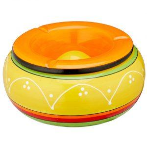 Terras asbak groot multicolor geel/oranje 23 cm - Buiten asbakken XL - Tafelaccessoires - Tuin artikelen