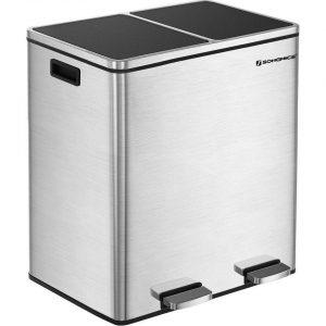XL Metalen Duo Prullenbak - 2 Vakken Afval Scheiden - 2x30 Liter Afvalscheiding Pedaalemmer - Keuken Trash Can