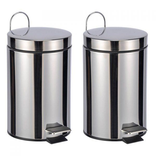 2x RVS pedaalemmers/vuilnisbakken 23 cm 3 liter - Afvalemmers badkamer/toilet