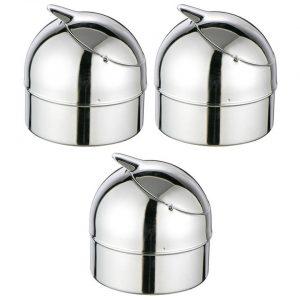 3x Zilveren klepasbak / terrasasbak 9 cm - Buiten asbakken - Tafelaccessoires - Tuin artikelen