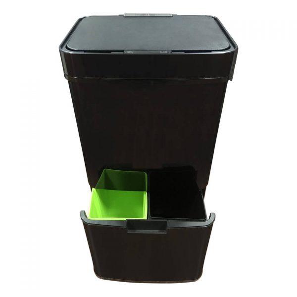 4cookz Smart Waste Black afvalscheidingsprullenbak met sensor 72 ltr