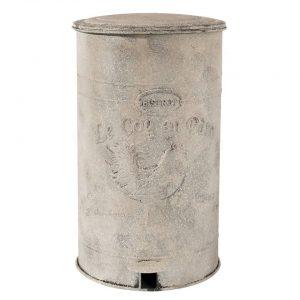Clayre & eef pedaalemmer 26x30x46 cm - grijs - ijzer