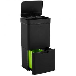 Homra Nexo Prullenbak - Met sensor - 72L afvalscheiding - Zwart