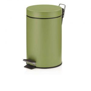 Monaco Pedaal Afvalemmer - 3 liter - Olijfgroen - Kela