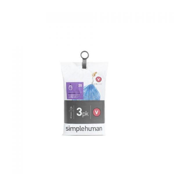 Simplehuman Pocket Liners vuilniszakken code V - 16-18 liter - 3 x 20 stuks
