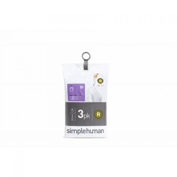 Afvalzak code r - voor pocket liners - 10 l - set van 3 x 20 stuks - simplehuman