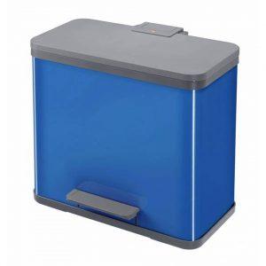 Hailo afvalscheidingsbak trio 27 liter - pedaalemmer afvalbak voor afvalscheiding / sorteren 3 x 9 liter - blauw
