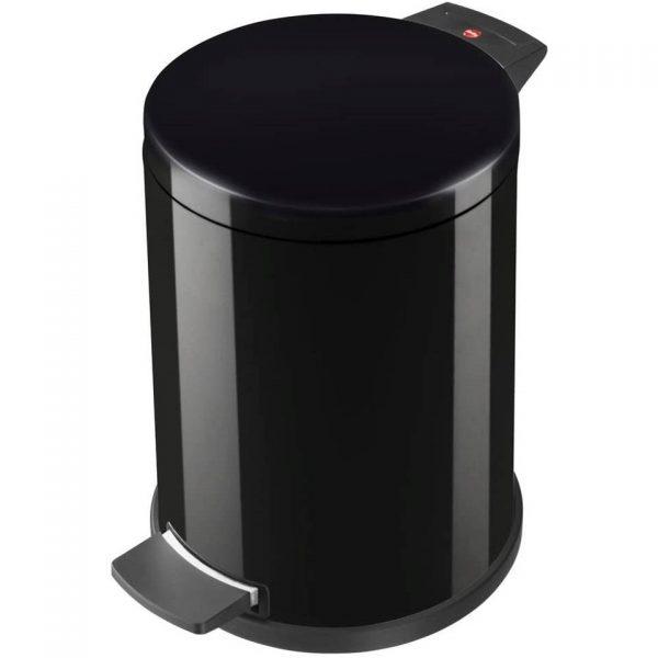 Hailo pedaalemmer 14 liter metaal zwart - prullenbak / afvalbak / vuilnisbak met voetpedaal - inclusief binnen-emmer