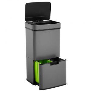 Homra Nexo Prullenbak - Met sensor - 72L afvalscheiding - Grijs