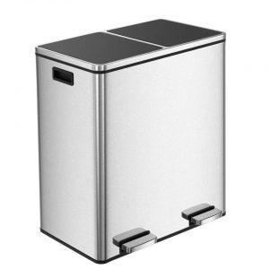 Parya Home - Prullenbak 60L - Roestvrij Staal - Afvalscheidingssysteem