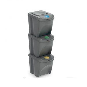 4Goodz Set 3x 25 liter stapelbare afvalscheidingsprullenbakken