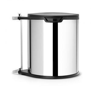 Brabantia Built-in Bin inbouwemmer 15 liter met kunststof binnenemmer - Brilliant Steel / Black