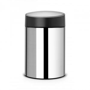 Brabantia Slide Bin wandafvalemmer 5 liter met kunststof binnenemmer - Brilliant Steel / Black