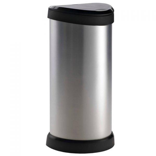 Curver Afvalemmer met drukdeksel Deco 40 L zilver 240641