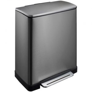 EKO pedaalemmer E-Cube afvalscheider 28+18 liter RVS black steel