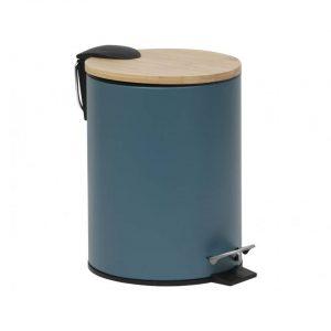 Gebor - Stijlvolle Design Prullenbak met Bamboe deksel - Imperial Groen/Bamboe - Klein formaat - 2.5L - Badkamer