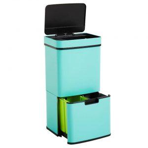 Homra Nexo Prullenbak - Met sensor - 72L afvalscheiding - Turquoise