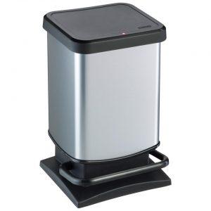 Rotho Paso pedaalemmer 20 l - zilverkleurig