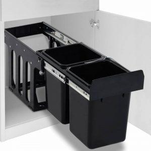 vidaXL Inbouwprullenbak uittrekbaar soft-close 20 L
