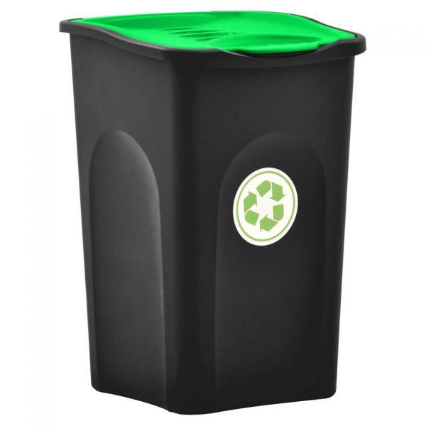 vidaXL Vuilnisbak met scharnierdeksel 50 L zwart en groen