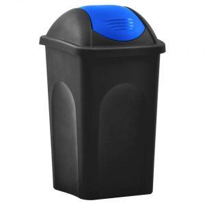 vidaXL Vuilnisbak met schommeldeksel 60 L zwart en blauw