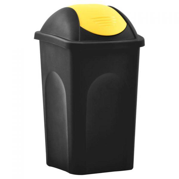 vidaXL Vuilnisbak met schommeldeksel 60 L zwart en geel