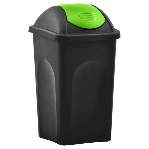 vidaXL Vuilnisbak met schommeldeksel 60 L zwart en groen