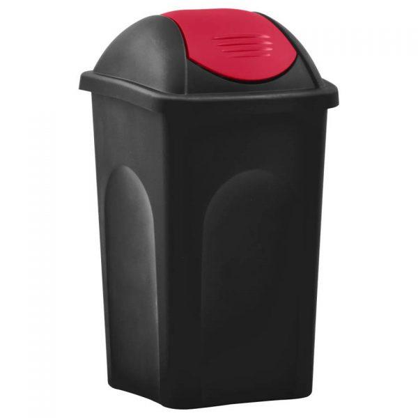 vidaXL Vuilnisbak met schommeldeksel 60 L zwart en rood