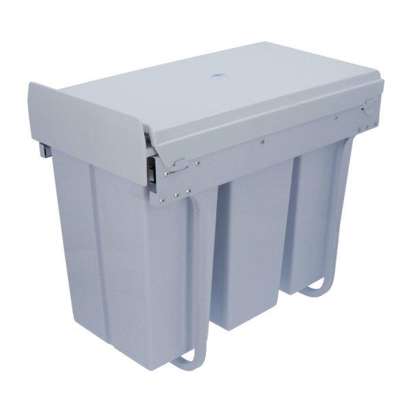 4cookz Witte 3 Vaks Inbouw Afvalscheidingsprullenbak 30cm - 3x 10 Ltr