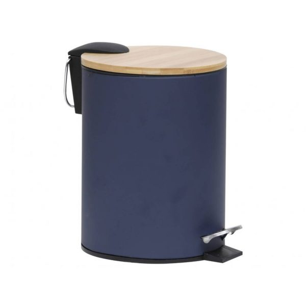Gebor - Stijlvolle Design Prullenbak Met Bamboe Deksel - Blauw/bamboe - Klein Formaat - 2.5l - Badkamer - Toilet