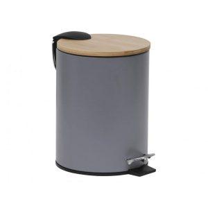 Gebor - Stijlvolle Design Prullenbak Met Bamboe Deksel - Grijs/bamboe - Klein Formaat - 2.5l - Badkamer - Toilet