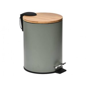 Gebor - Stijlvolle Design Prullenbak Met Bamboe Deksel - Kaki/bamboe - Klein Formaat - 2.5l - Badkamer - Toilet