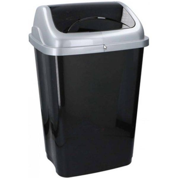 Zwarte Vuilnisbak/vuilnisemmer Kunststof 50 Liter - Vuilnisemmers/vuilnisbakken/prullenbakken