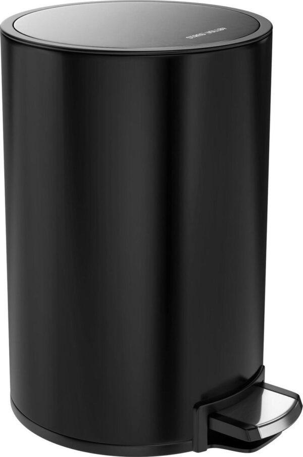 StangVollby Kallax Pedaalemmer - 5 Liter - RVS - Zwart - Prullenbak - Toilet - Badkamer - Klein - Soft Close Deksel - Chique Design - Kleine Zwarte Pedaal Prullenbak