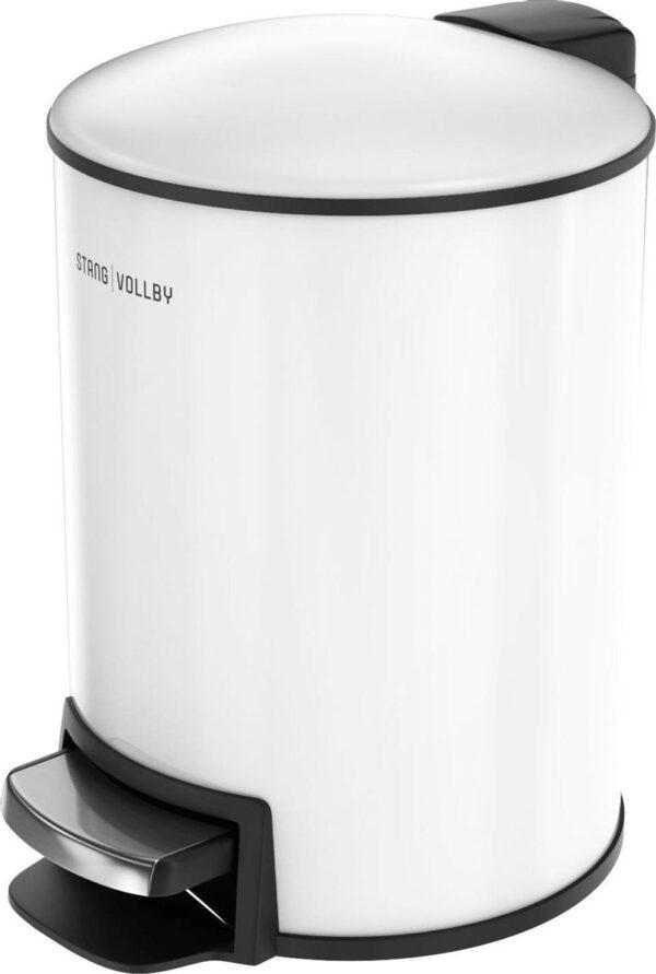 StangVollby Rosvik Pedaalemmer - 3 Liter - RVS - Wit - Prullenbak - Toilet - Badkamer - Klein - Soft Close Deksel - Chique Design - Kleine Witte Pedaal Prullenbak - Afvalzak Inkeping