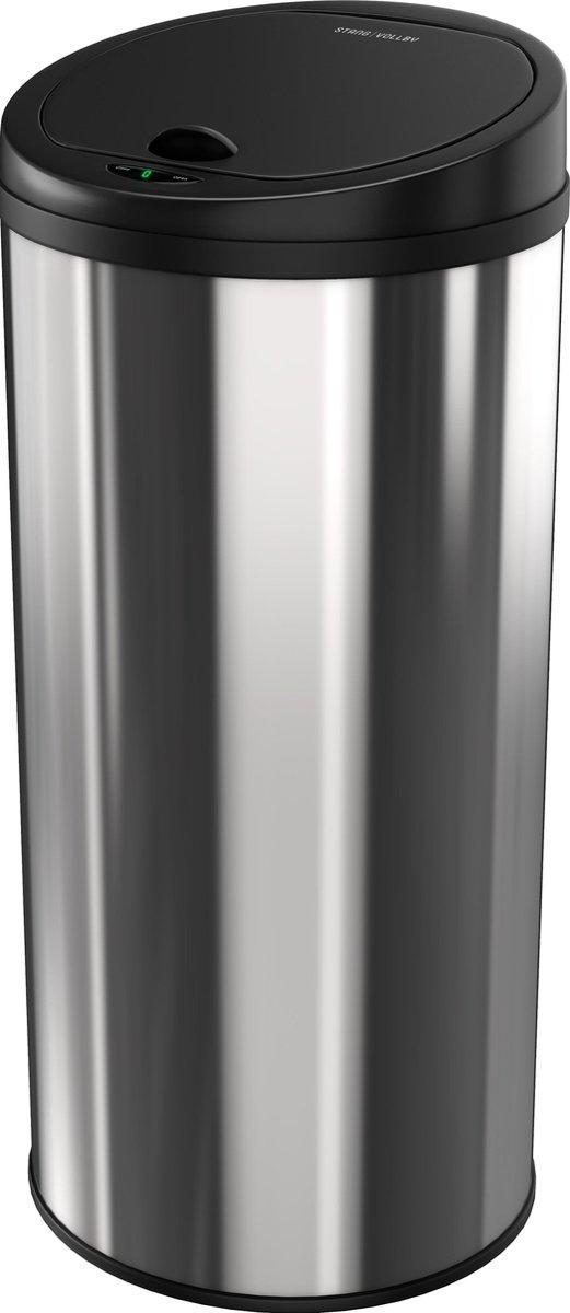 Stangvollby Luvos Prullenbak met Sensor - 50L - Soft Close Deksel - RVS - Design Afvalemmer - Hygiënisch - Vingerafdruk bestendig - Vuilnisbak met Elektrische Deksel - Sensor prullenbak - 50 liter Vuilbak - O.03