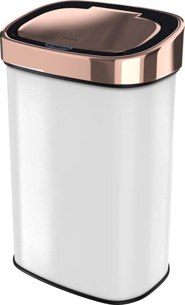 Stangvollby sensor prullenbak - 58L - Hygiënische automatische deksel - RVS - Soft close - Vingerafdrukvrij - Wit met koperen rand - Design NO.09