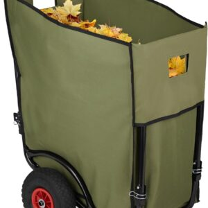 relaxdays tuinkar groot - tuintrolley 160 liter - tuinafvalzak - tuinwagen - inklapbaar