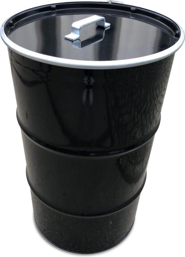 BinBin Handle Industriële prullenbak Zwart 120 Liter olievat met handvat deksel