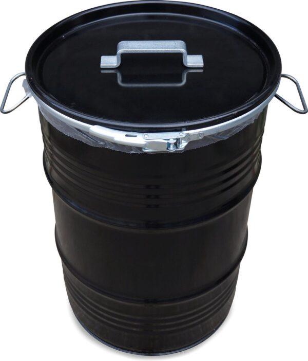 BinBin Handle industriële prullenbak zwart 60 Liter olievat met handvat deksel