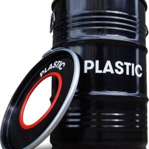 BinBin Hole Plastic- industriële metalen prullenbak 60 Liter- Olievat afvalscheidingsprullenbak voor plastic afval