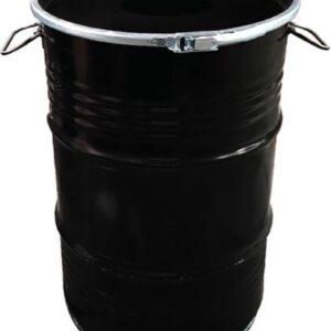 BinBin Hole industriële Prullenbak Zwart 60 Liter olievat met gat in deksel